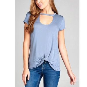 Tops - Super Soft  Choker Tee with Twisted front Hem